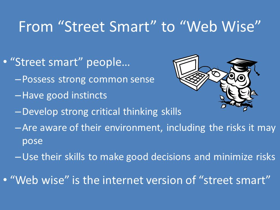 From Street Smart to Web Wise Street smart people… – Possess strong common sense – Have good instincts – Develop strong critical thinking skills – Are aware of their environment, including the risks it may pose – Use their skills to make good decisions and minimize risks Web wise is the internet version of street smart