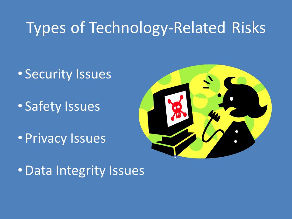 Types of Technology-Related Risks Security Issues Safety Issues Privacy Issues Data Integrity Issues