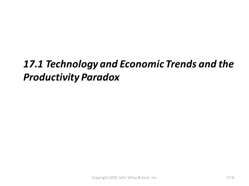 Copyright 2010 John Wiley & Sons, Inc.17-8 17.1 Technology and Economic Trends and the Productivity Paradox