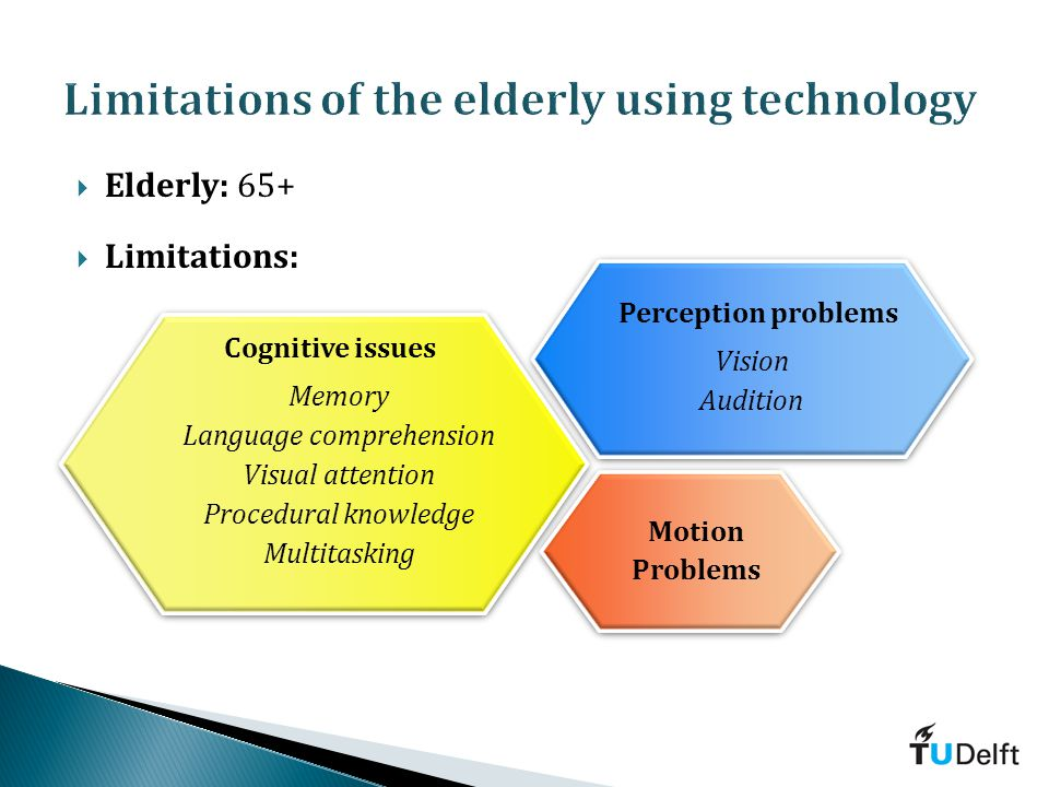 Elderly: 65+ Limitations: Cognitive issues Memory Language comprehension Visual attention Procedural knowledge Multitasking Cognitive issues Memory Language comprehension Visual attention Procedural knowledge Multitasking Motion Problems Motion Problems Perception problems Vision Audition Perception problems Vision Audition