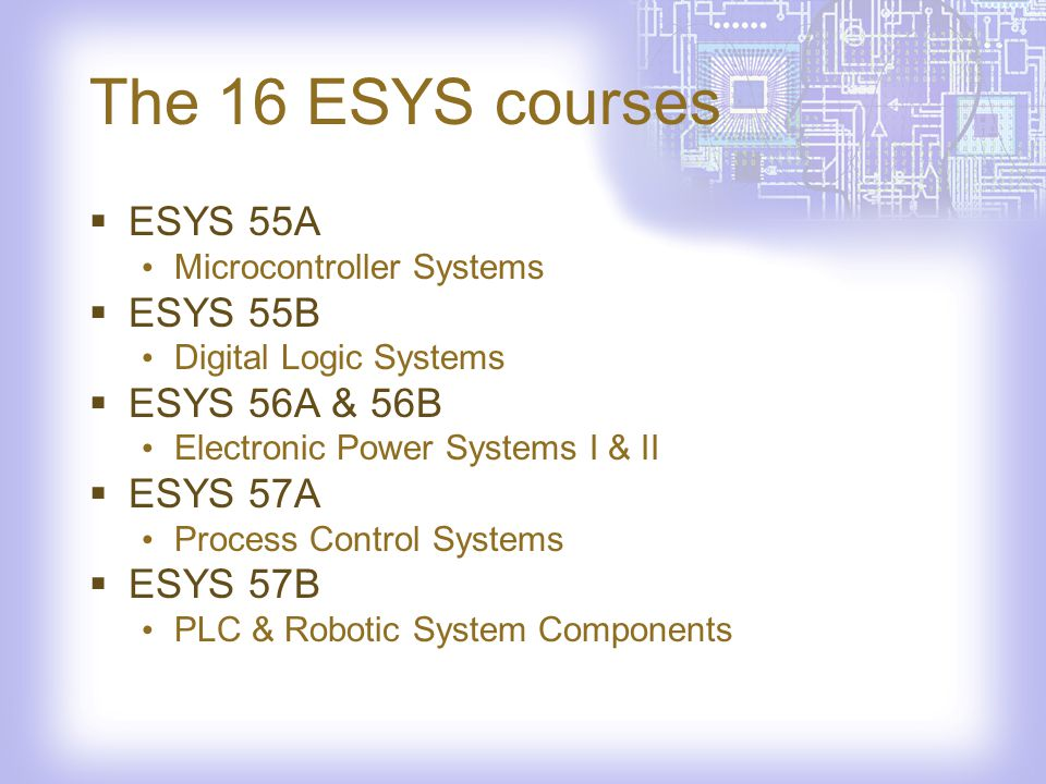 The 16 ESYS courses ESYS 58 Wireless Communication Systems ESYS 60 Electronic Systems Analysis ESYS 61 ESYS Project Management ESYS 62 Home Technology Systems ESYS 63A/B IT Essentials: PC Hardware and Software
