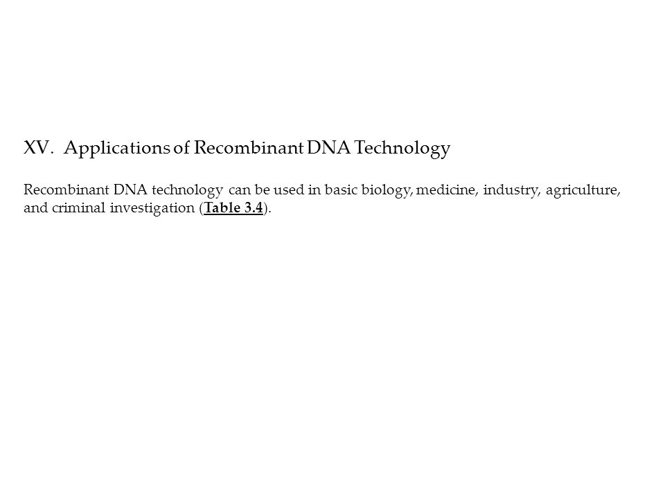 XV.Applications of Recombinant DNA Technology Recombinant DNA technology can be used in basic biology, medicine, industry, agriculture, and criminal investigation (Table 3.4).