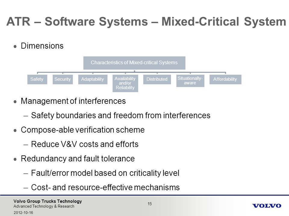 Volvo Group Trucks Technology ATR – Software Systems – Mixed-Critical System 15 Advanced Technology & Research 2012-10-16 Dimensions Management of int