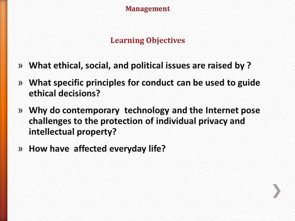 Management » What ethical, social, and political issues are raised by ? » What specific principles for conduct can be used to guide ethical decisions?