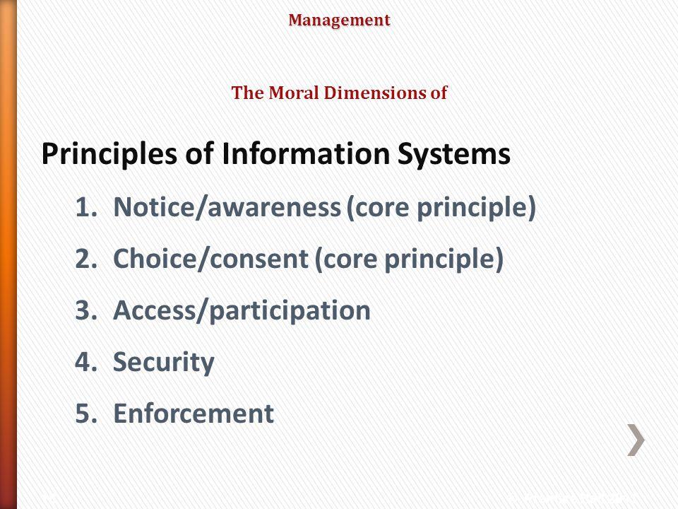 Management Principles of Information Systems 1.Notice/awareness (core principle) 2.Choice/consent (core principle) 3.Access/participation 4.Security 5