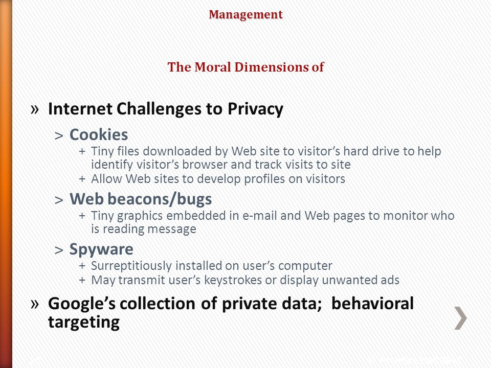 Management » Internet Challenges to Privacy ˃Cookies +Tiny files downloaded by Web site to visitors hard drive to help identify visitors browser and t