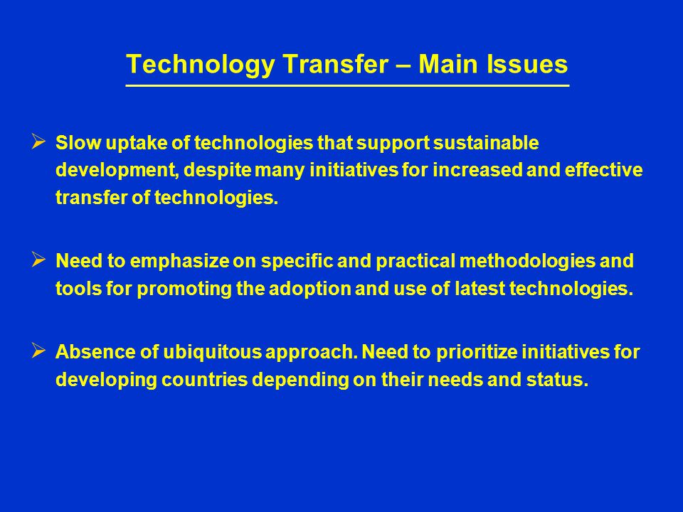 Implementation of technology driven programmes Focus on technology areas of core competence and with cross sectoral impact demand of developing countries, thus increasing the international activities.