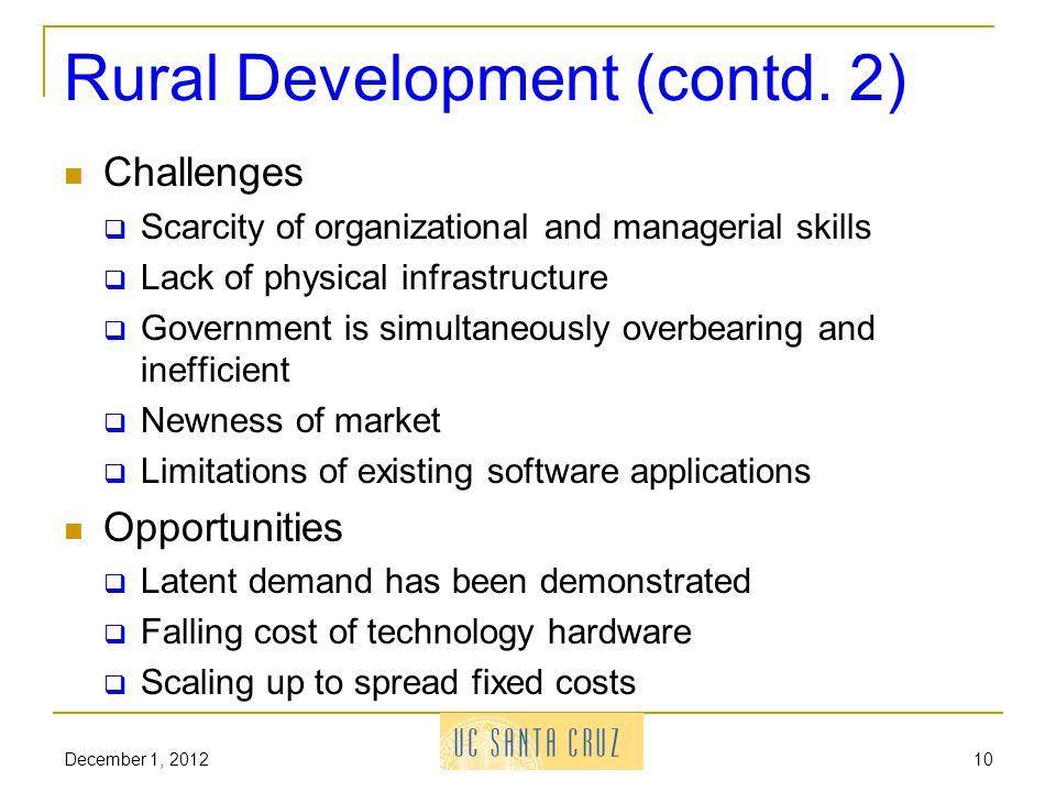 Rural Development (contd.