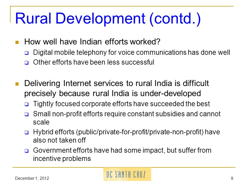 Rural Development (contd.) How well have Indian efforts worked.