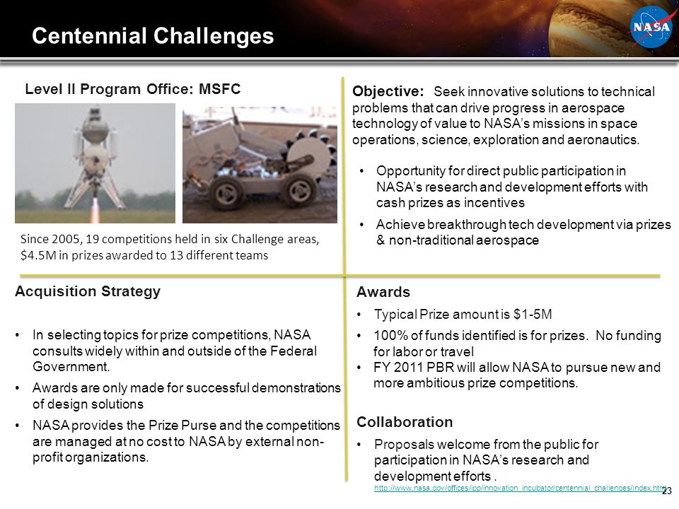 23 Level II Program Office: MSFC Acquisition Strategy In selecting topics for prize competitions, NASA consults widely within and outside of the Feder