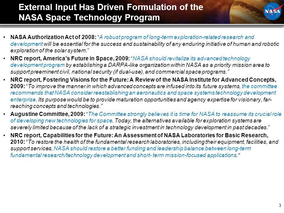 3 External Input Has Driven Formulation of the NASA Space Technology Program NASA Authorization Act of 2008: A robust program of long-term exploration