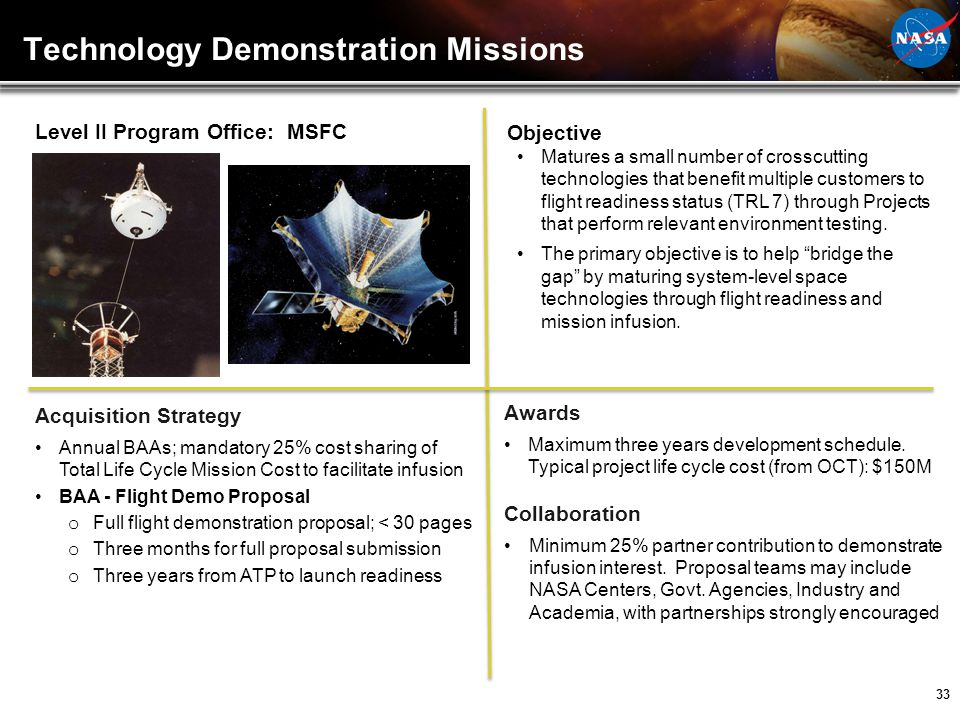 33 Technology Demonstration Missions Level II Program Office: MSFC Acquisition Strategy Annual BAAs; mandatory 25% cost sharing of Total Life Cycle Mi