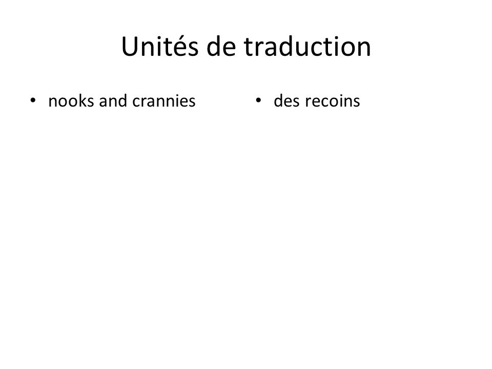 Unités de traduction nooks and crannies des recoins