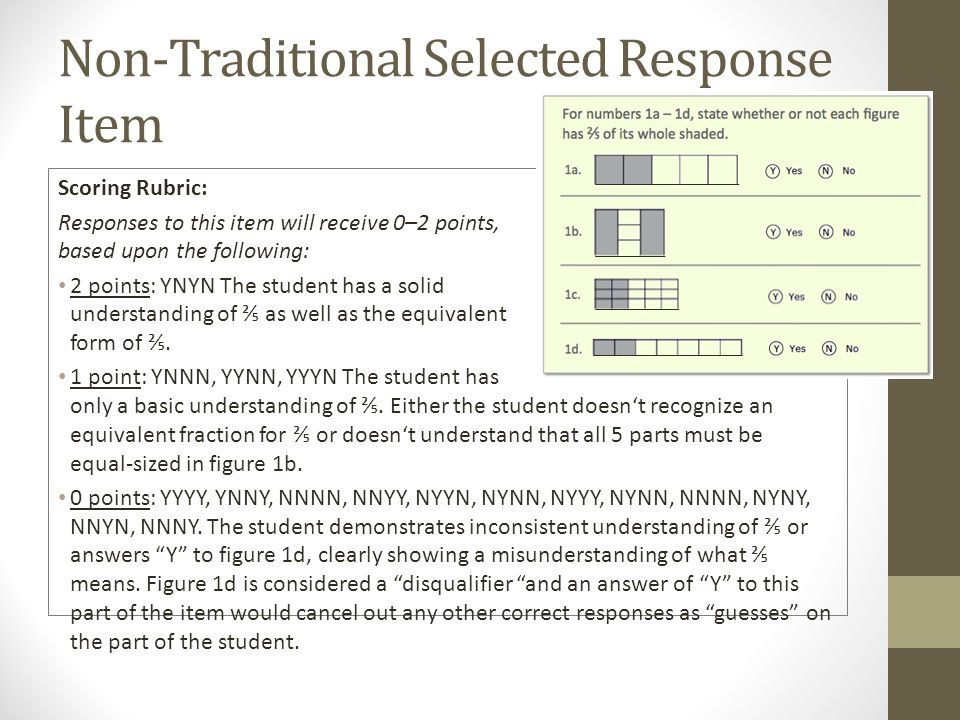 Non-Traditional Selected Response Item Scoring Rubric: Responses to this item will receive 0–2 points, based upon the following: 2 points: YNYN The student has a solid understanding of as well as the equivalent form of.