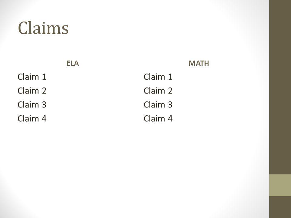 Claims ELA Claim 1 Claim 2 Claim 3 Claim 4 MATH Claim 1 Claim 2 Claim 3 Claim 4