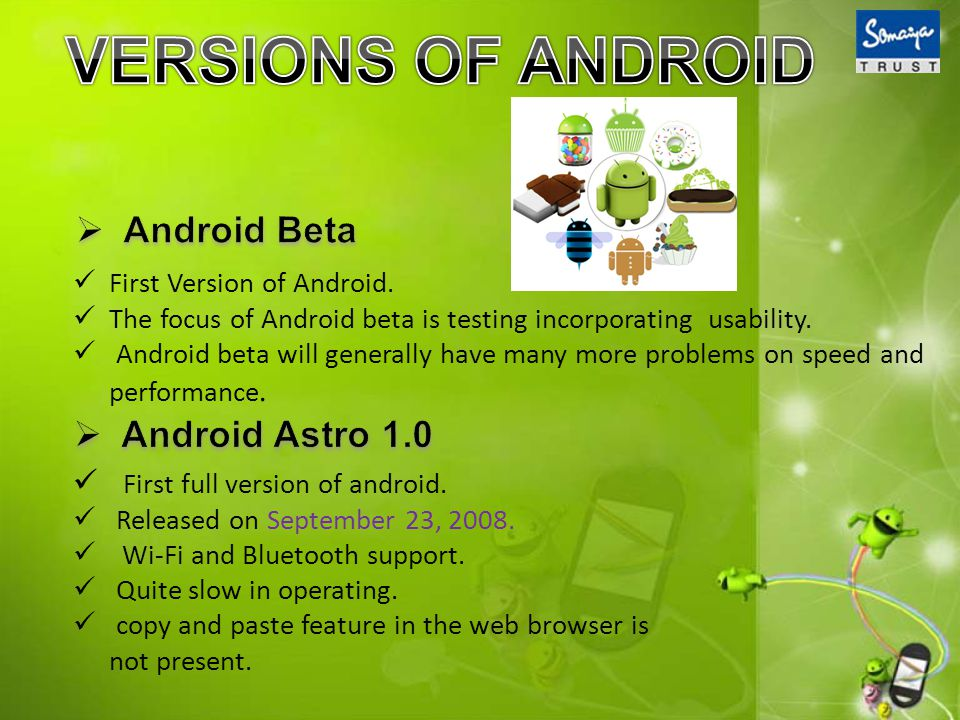 First Version of Android. The focus of Android beta is testing incorporating usability.