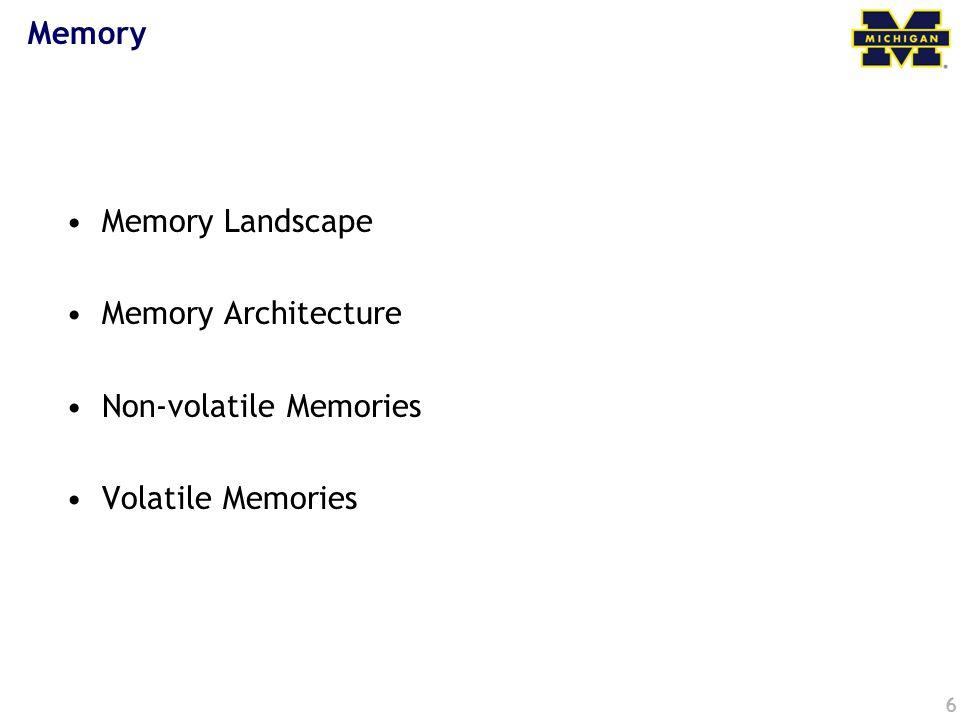 6 Memory Memory Landscape Memory Architecture Non-volatile Memories Volatile Memories
