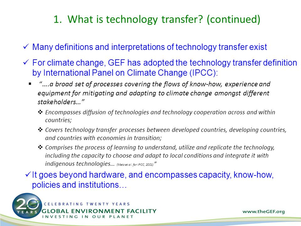 2.What is GEF doing to facilitate tech transfer.