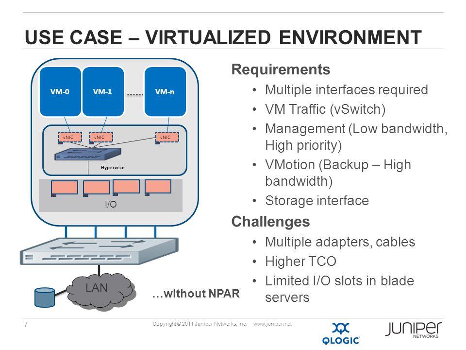7 Copyright © 2011 Juniper Networks, Inc. www.juniper.net USE CASE – VIRTUALIZED ENVIRONMENT …without NPAR I/O LAN VM-0VM-1VM-n Hypervisor vNIC Requir