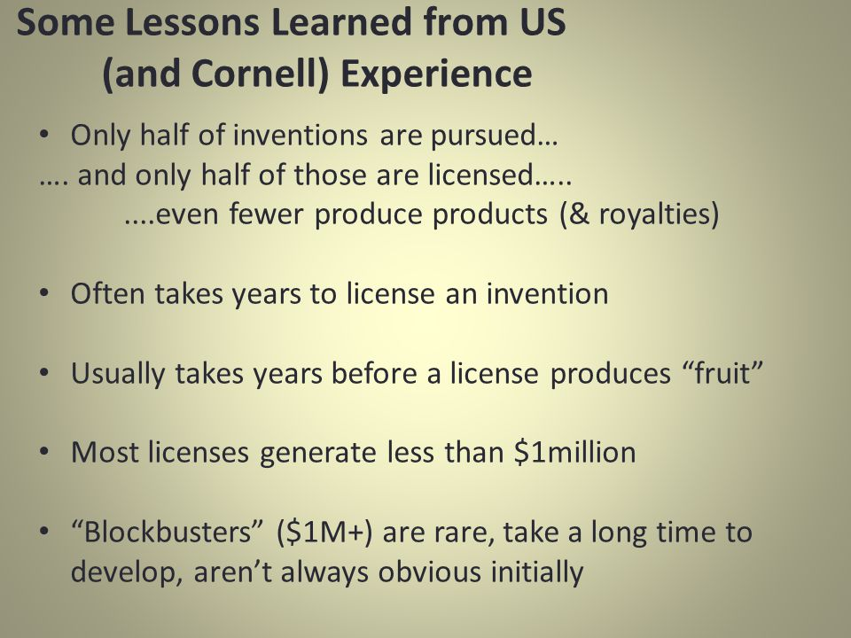 Some Lessons Learned from US (and Cornell) Experience Only half of inventions are pursued… ….