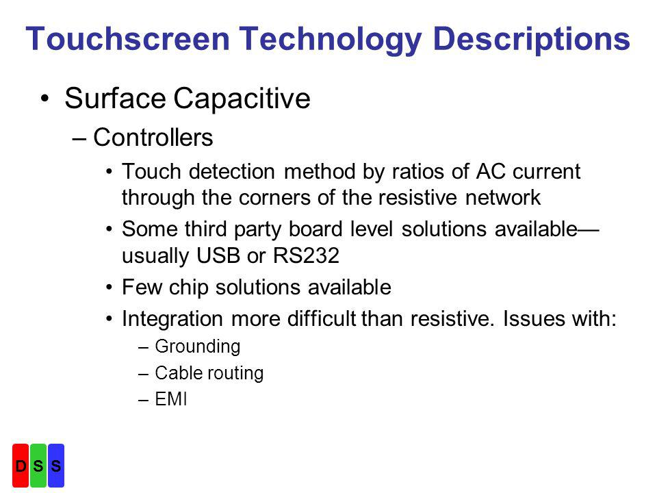 Touchscreen Technology Descriptions Surface Capacitive –Controllers Touch detection method by ratios of AC current through the corners of the resistive network Some third party board level solutions available usually USB or RS232 Few chip solutions available Integration more difficult than resistive.