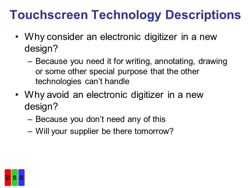 Touchscreen Technology Descriptions Why consider an electronic digitizer in a new design.