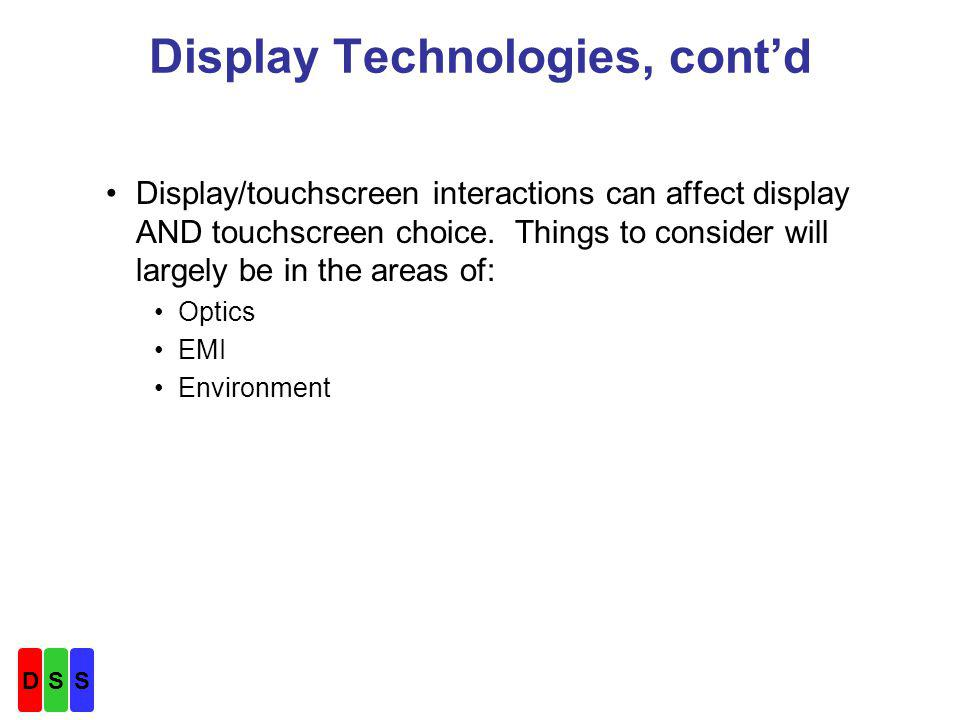 Touchscreen Technology Descriptions –SAW Features, contd Good EMI performance Vandal resistant--adapts to surface scratches Finger or soft stylus touch only –Point and shoot touch excellent –Dragging may produce skipsglass finish, finger moisture, stylus type, etc.