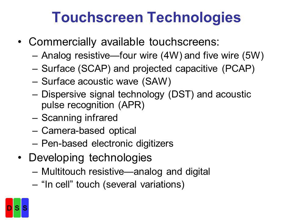Touchscreen Technology Descriptions Why consider SAW in a new design.