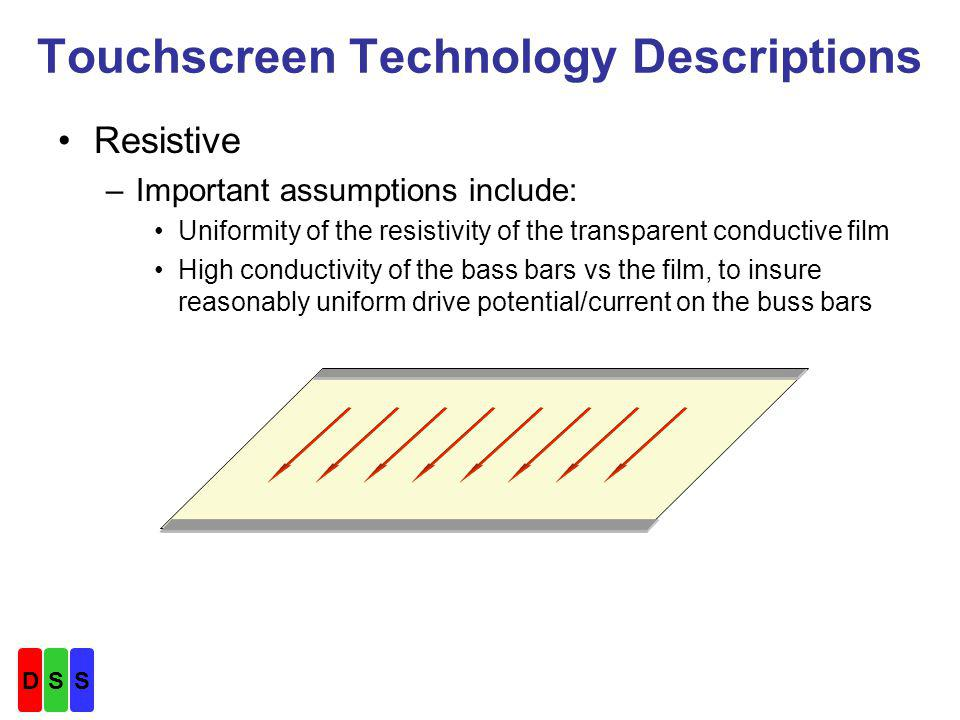 Touchscreen Technology Descriptions Projected Capacitive –Despite similarity of name, completely different from Surface Capacitive –Concept: Finger contact or proximity to the touchscreen surface changes the capacitance between one or more electrodes of an array and its neighbors.