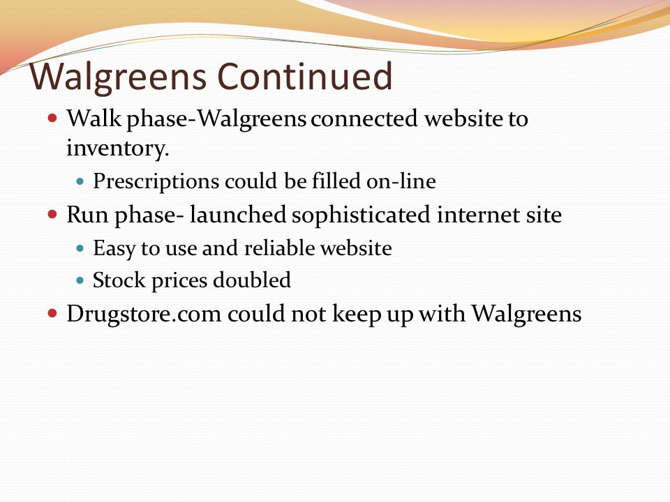 Walgreens Continued Walk phase-Walgreens connected website to inventory. Prescriptions could be filled on-line Run phase- launched sophisticated inter