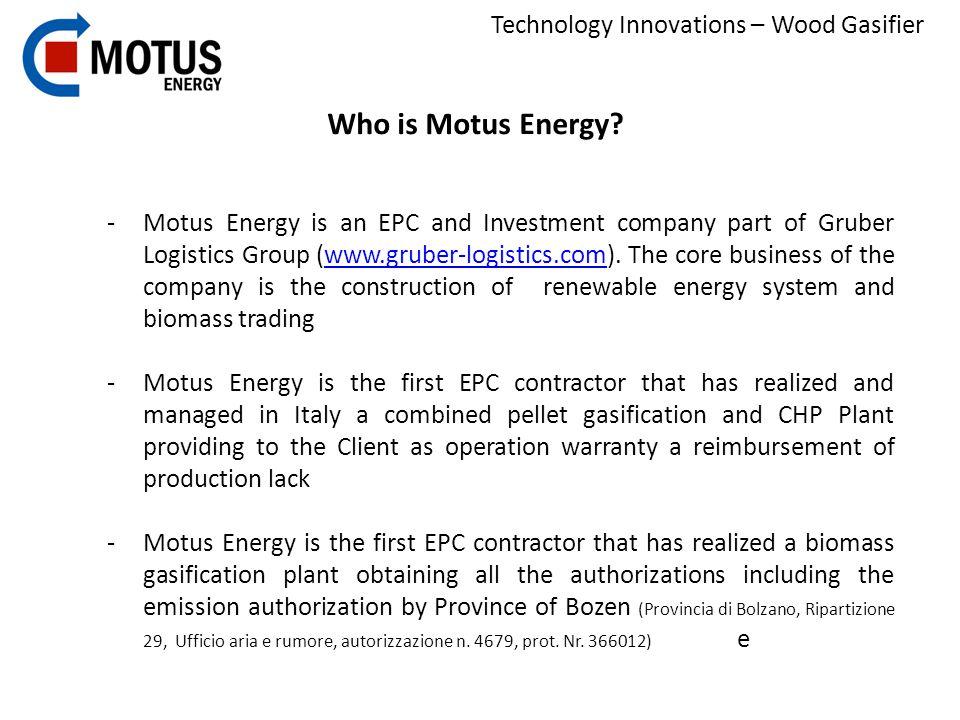 Technology Innovations – Wood Gasifier Management Dott.