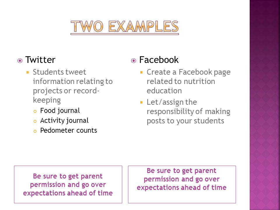 Be sure to get parent permission and go over expectations ahead of time Twitter Students tweet information relating to projects or record- keeping Food journal Activity journal Pedometer counts Facebook Create a Facebook page related to nutrition education Let/assign the responsibility of making posts to your students