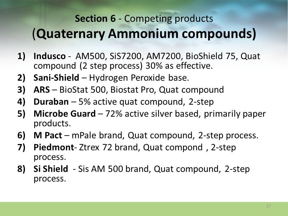 Section 6 - Competing products (Quaternary Ammonium compounds) 1)Indusco - AM500, SiS7200, AM7200, BioShield 75, Quat compound (2 step process) 30% as