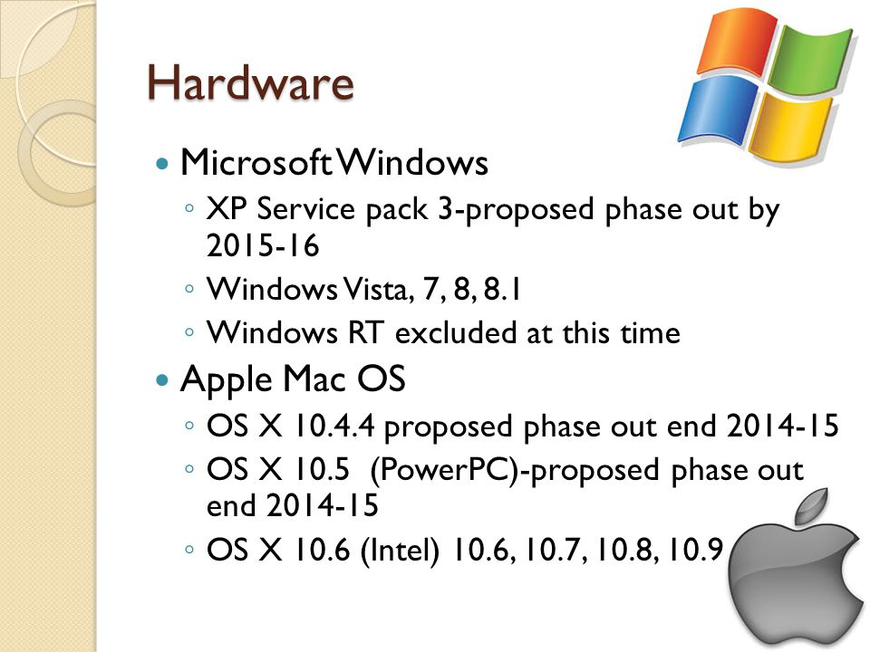 Hardware Microsoft Windows XP Service pack 3-proposed phase out by 2015-16 Windows Vista, 7, 8, 8.1 Windows RT excluded at this time Apple Mac OS OS X 10.4.4 proposed phase out end 2014-15 OS X 10.5 (PowerPC)-proposed phase out end 2014-15 OS X 10.6 (Intel) 10.6, 10.7, 10.8, 10.9