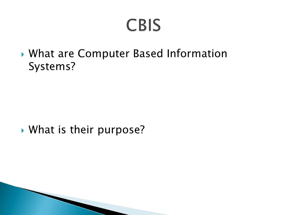 What are Computer Based Information Systems What is their purpose