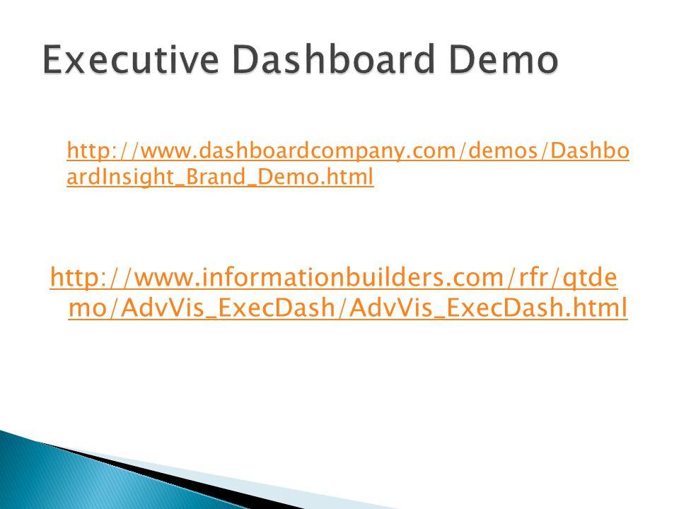 http://www.dashboardcompany.com/demos/Dashbo ardInsight_Brand_Demo.html http://www.informationbuilders.com/rfr/qtde mo/AdvVis_ExecDash/AdvVis_ExecDash.html