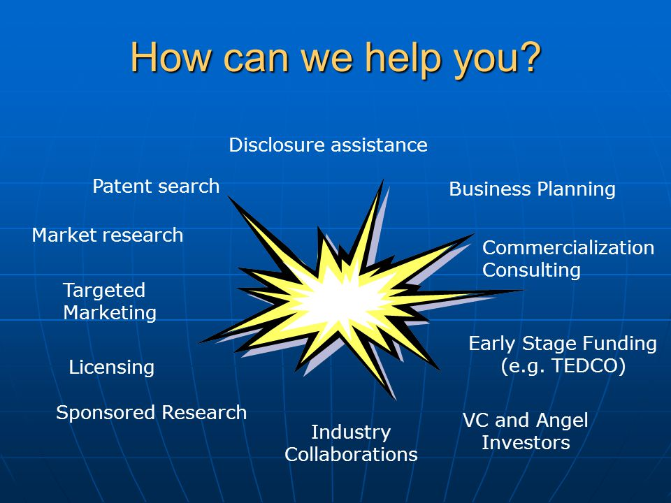 How can we help you. Commercialization Consulting Business Planning Early Stage Funding (e.g.