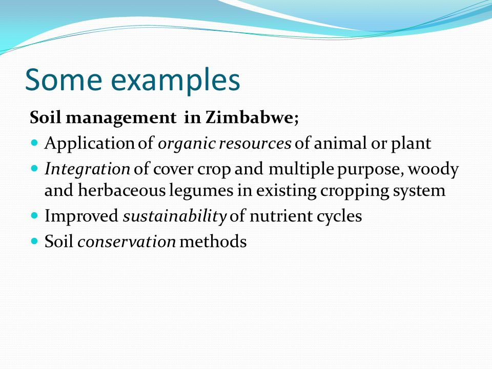 Some examples Soil management in Zimbabwe; Application of organic resources of animal or plant Integration of cover crop and multiple purpose, woody a