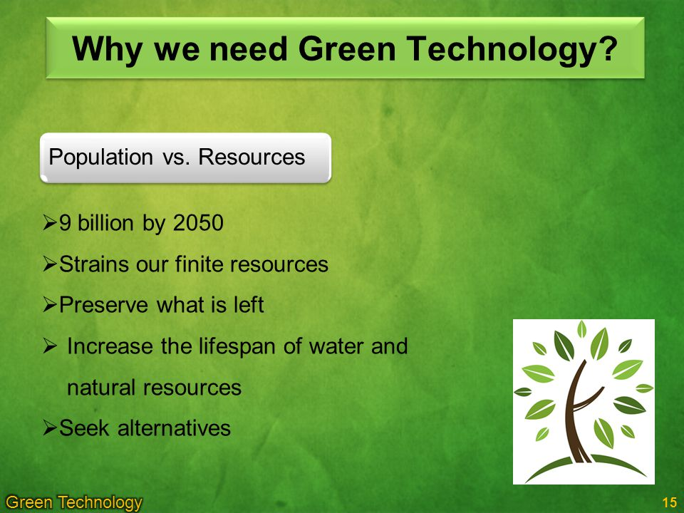 Why we need Green Technology.15 Population vs.