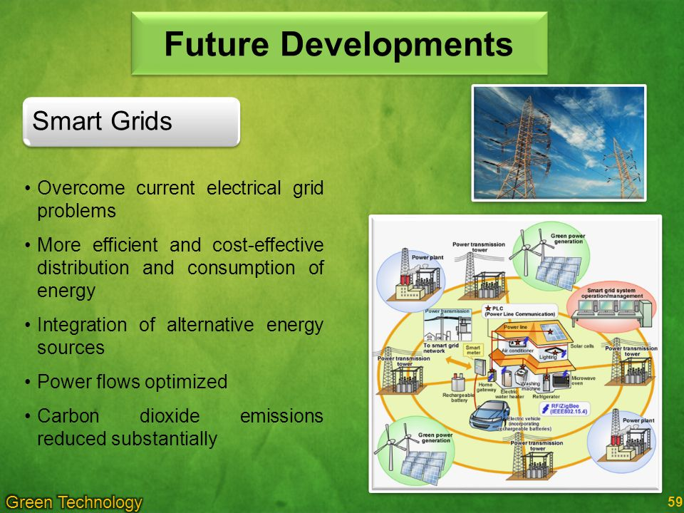 Future Developments Overcome current electrical grid problems More efficient and cost-effective distribution and consumption of energy Integration of alternative energy sources Power flows optimized Carbon dioxide emissions reduced substantially Smart Grids 59