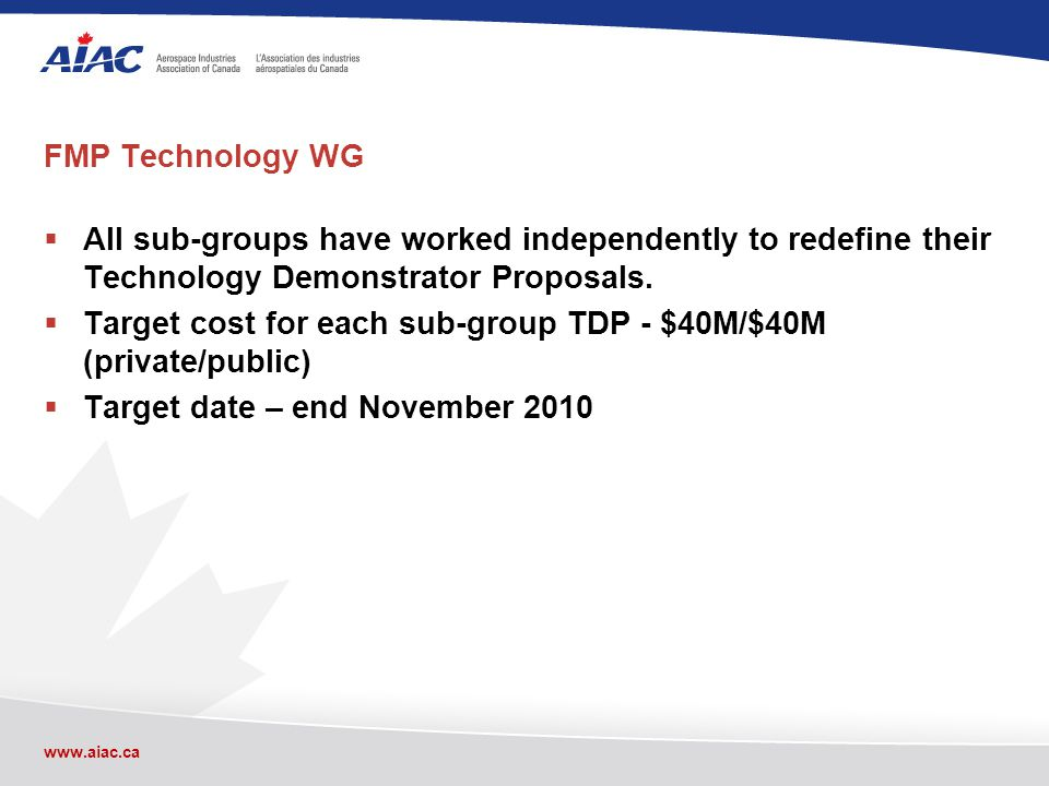 www.aiac.ca FMP Technology WG All sub-groups have worked independently to redefine their Technology Demonstrator Proposals.