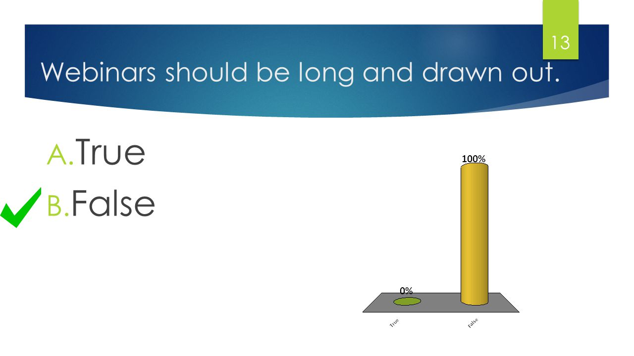 Webinars should be long and drawn out. A. True B. False 13