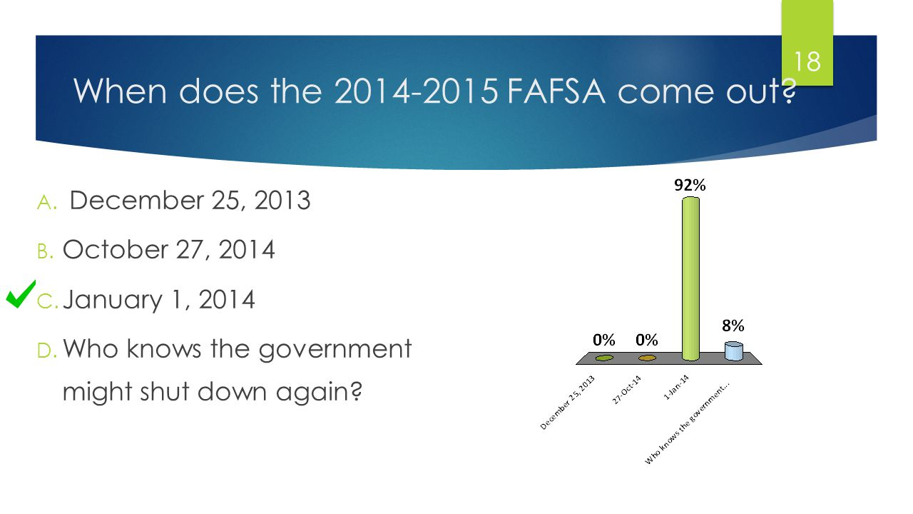 When does the 2014-2015 FAFSA come out. A. December 25, 2013 B.