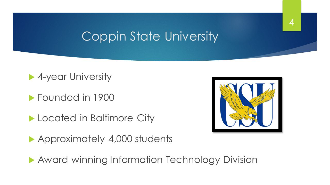 Coppin State University 4-year University Founded in 1900 Located in Baltimore City Approximately 4,000 students Award winning Information Technology Division 4