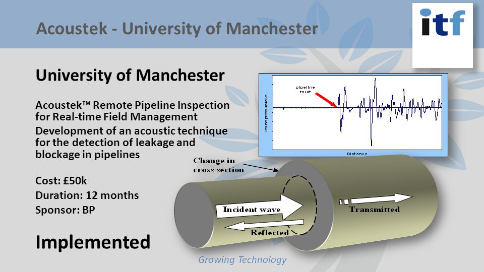 University of Manchester Acoustek Remote Pipeline Inspection for Real-time Field Management Development of an acoustic technique for the detection of leakage and blockage in pipelines Cost: £50k Duration: 12 months Sponsor: BP Implemented Growing Technology Acoustek - University of Manchester