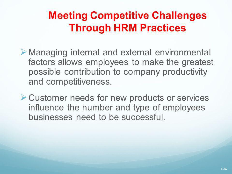 Meeting Competitive Challenges Through HRM Practices Managing internal and external environmental factors allows employees to make the greatest possib