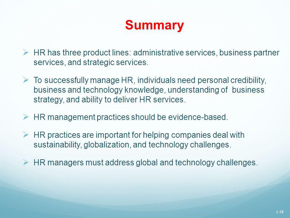 Summary HR has three product lines: administrative services, business partner services, and strategic services. To successfully manage HR, individuals