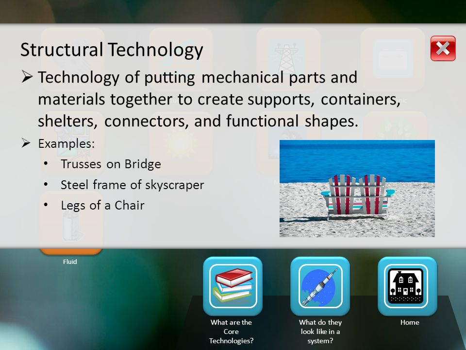 MechanicalStructuralElectricalElectronic Bio technologyMaterialsThermalOptical Fluid What are the Core Technologies.