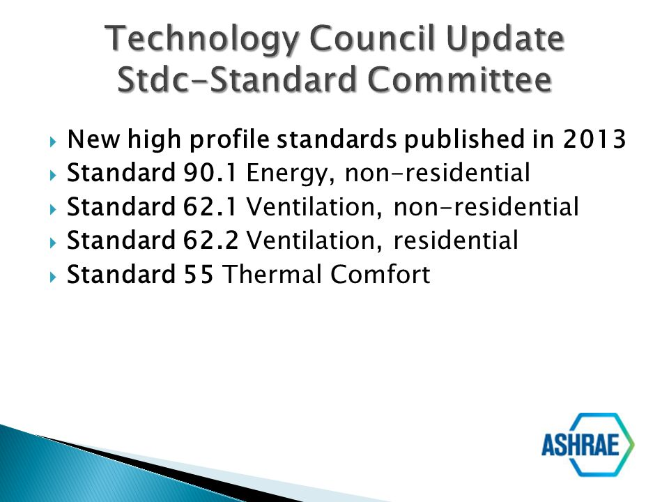 New high profile standards published in 2013 Standard 90.1 Energy, non-residential Standard 62.1 Ventilation, non-residential Standard 62.2 Ventilatio