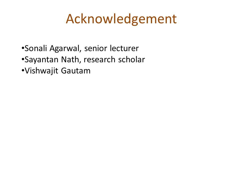 Acknowledgement Sonali Agarwal, senior lecturer Sayantan Nath, research scholar Vishwajit Gautam